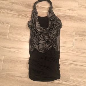 Fitted silver and black halter mini dress